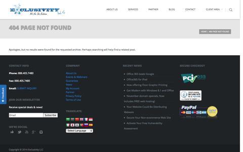 Screenshot of Case Studies Page exclusivityllc.net - Page not found - Exclusivity LLCExclusivity LLC - captured Sept. 30, 2014
