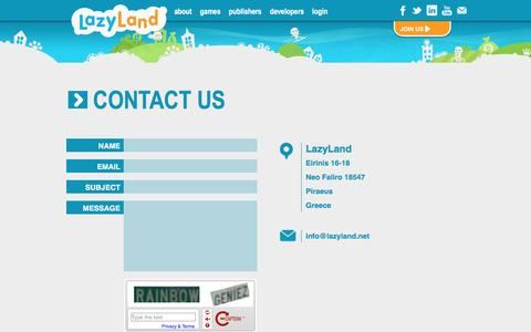 Screenshot of Contact Page lazyland.net - Contact Us - lazyland.net - captured May 16, 2017