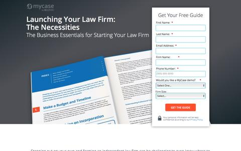Screenshot of Landing Page mycase.com - Launching Your Law Firm: The Necessities :: MyCase Legal Resources - captured May 17, 2017