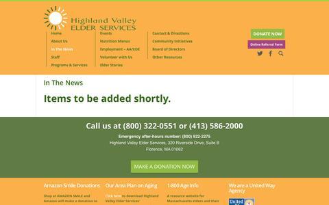 Screenshot of Press Page highlandvalley.org - In The News | Highland Valley Elder Services - captured Nov. 9, 2016
