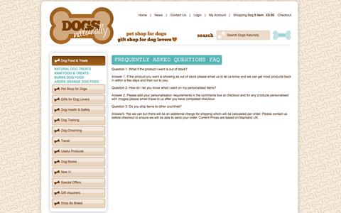 Screenshot of FAQ Page dogsnaturally.co.uk - Frequently Asked Questions - FAQ - Dogs Naturally - captured Oct. 5, 2014