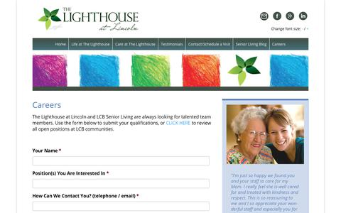 Screenshot of Jobs Page lighthouselincoln.com - Memory Care Assisted Living Jobs in Lincoln RI | Lighthouse at Lincoln - captured Nov. 10, 2017