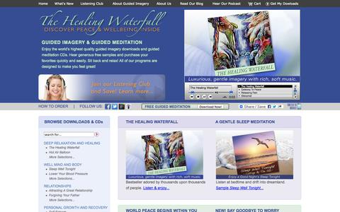Screenshot of Home Page guidedimagerydownloads.com - Guided Meditation Downloads and Guided Imagery | The Healing Waterfall - captured Jan. 26, 2015