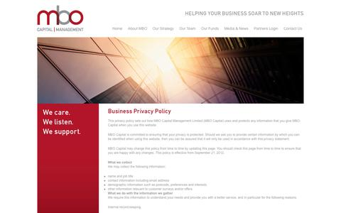 Screenshot of Privacy Page mbocapital.com - Privacy Policy - MBO Capital Management - captured Oct. 3, 2014