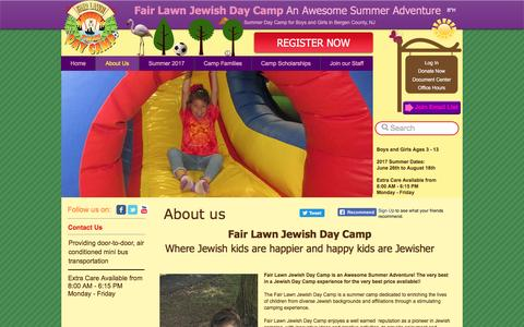 Screenshot of About Page fairlawncamp.com - Fair Lawn Jewish Day Camp about us - captured Nov. 24, 2016