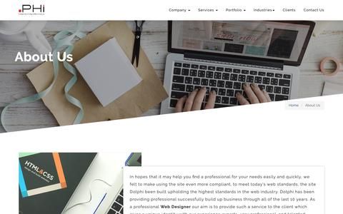 Screenshot of About Page dotphi.com - About Us - Website Design & Development Company | 10+ Experience | Professional Team - captured Oct. 9, 2018