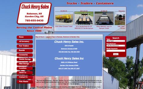 Screenshot of Locations Page chuckhenry.com - We have two dealerships in Kansas to serve you better! Our Solomon & Garden City, Kansas dealerships provides both commercial truck sales & rentals. - captured Oct. 2, 2014