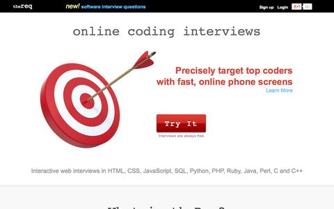 Screenshot of Home Page thereq.com - theReq | Online coding interviews in Ruby, Java, Python, PHP and more - captured Sept. 24, 2014
