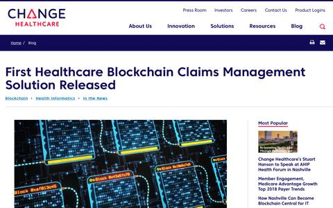 Screenshot of Team Page changehealthcare.com - First Healthcare Blockchain Claims Management Solution Released | Change Healthcare - captured Feb. 20, 2020