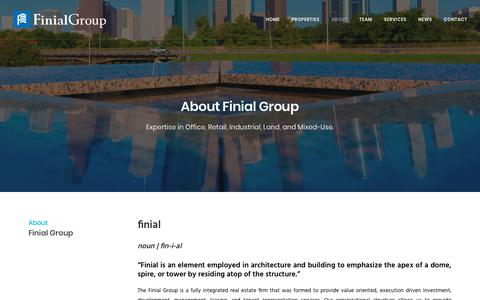 Screenshot of About Page finialgroup.com - About | Finial Group - captured Aug. 13, 2018