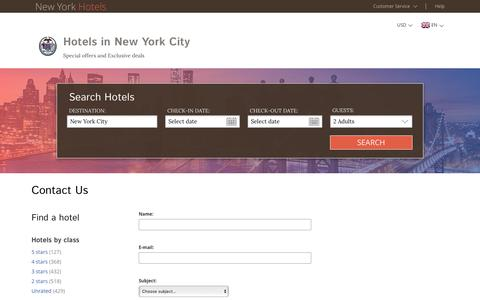 Screenshot of Support Page new-york-hotels-ny.com - New York City hotel reservation – new-york-hotels-ny.com – Contact us - captured March 11, 2017