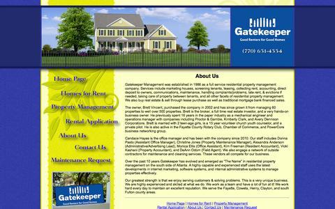 Screenshot of About Page gatekeeperproperties.com - Gatekeeper Properties - Homes for Rent & Property Management: Peachtree City, Fayetteville, Newnan, GA & More - captured Oct. 2, 2014