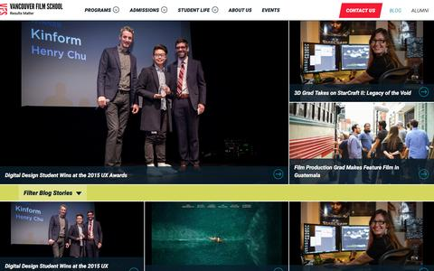 Screenshot of Press Page vfs.edu - Blog | News about the Entertainment Industry and Vancouver Film School - captured Dec. 17, 2015