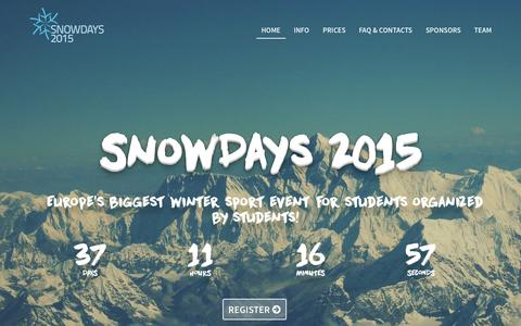 Screenshot of Home Page snowdays.it - Snow Days | There are no days like Snow Days! - captured Jan. 26, 2015