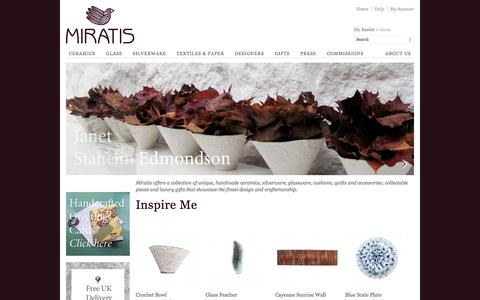 Screenshot of Home Page miratis.com - Homewares, Accessories & Gifts -  collectable pieces & luxury gifts that showcase the finest design and craftsmanship | Miratis - captured Oct. 6, 2014