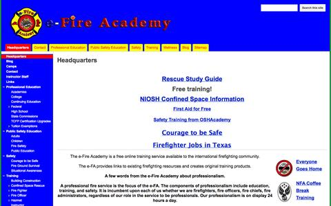 Screenshot of Home Page efireacademy.com - e-Fire Academy - captured Jan. 27, 2015