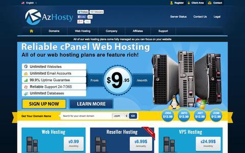 Screenshot of Home Page azhosty.com - Professional Web Hosting - We provide solid web hosting & domain registration services! - captured Sept. 30, 2014