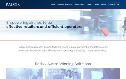 Screenshot of Home Page radixx.com - Omni-Channel airline merchandizing and operational solutions | Radixx - captured Oct. 18, 2018
