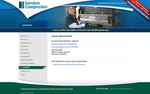 Screenshot of Jobs Page gordoncomposites.com - Gordon Composites Careers  | Material Manufacturer of Thermoset Composites - captured July 22, 2018