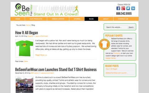 Screenshot of Blog beseenfanwear.com - Custom Design T-Shirts - News and Updates from Be Seen Fan Wear - captured Sept. 30, 2014