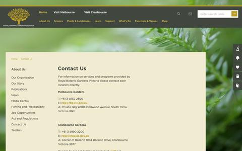Screenshot of Contact Page rbg.vic.gov.au - Contact Us | About Us | Royal Botanic Gardens Victoria - captured Dec. 3, 2016