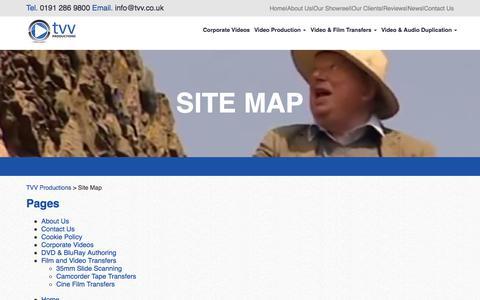 Screenshot of Site Map Page tvv.co.uk - Site Map | TVV Productions - captured Nov. 3, 2017