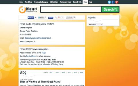 Screenshot of Press Page discountvouchers.co.uk - Press Releases | Discount Vouchers - captured Sept. 23, 2014