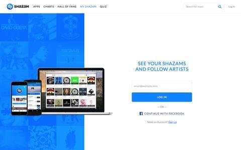 Screenshot of Login Page shazam.com - My Shazam - captured Nov. 18, 2015