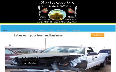 Screenshot of Home Page autosonicsautobody.com captured Oct. 4, 2014