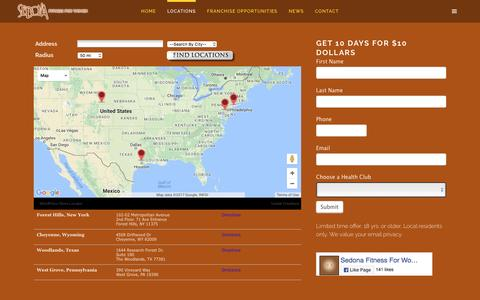 Screenshot of Trial Page Locations Page sedonaforwomen.com - Locations | Sedona For Women - captured May 3, 2017