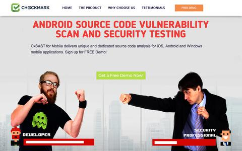 Screenshot of Landing Page checkmarx.com - Leading Android Source Code Security Testing And Vulnerability Scanning Software - CheckMarx.com - captured Jan. 20, 2018