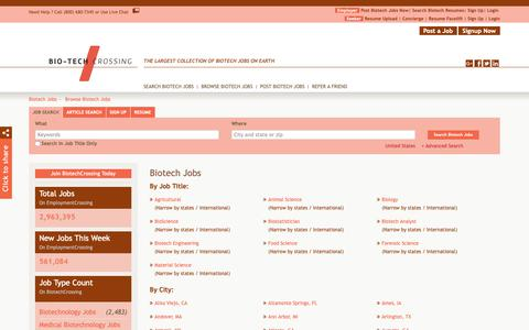 Screenshot of Jobs Page biotechcrossing.com - Biotech Jobs, Browse Jobs in Biotech By Job Type, City, State in United States | BiotechCrossing.com - captured Oct. 5, 2018