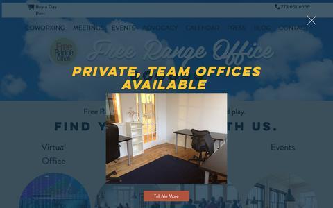 Screenshot of Home Page freerangeoffice.com - Free Range Life | Coworking Meetings Events | Chicago - captured June 6, 2017