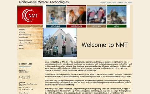 Screenshot of Home Page nmtinc.org - Noninvasive Medical Technologies develops bioimpedance hemodynamic patient monitoring devices - captured Sept. 16, 2014