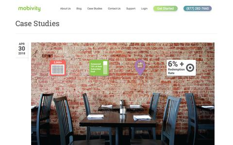 Screenshot of Case Studies Page mobivity.com - Case Studies Archives • Mobivity - captured May 22, 2018