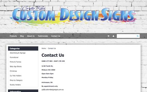 Screenshot of Contact Page customdesignsigns.com.au - Contact Us - captured Dec. 14, 2015