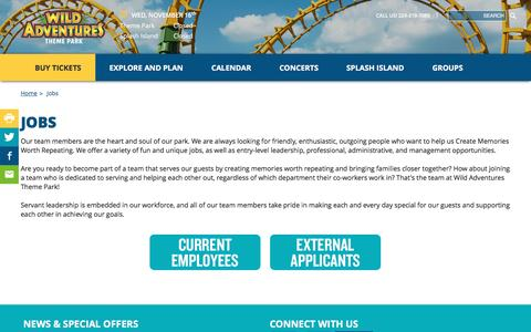 Screenshot of Jobs Page wildadventures.com - Job Opportunities | Wild Adventures Theme Park - captured Nov. 16, 2016