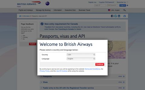 Passports, visas and API | Information | British Airways