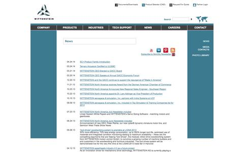 Screenshot of Press Page wittenstein-us.com - News     -  Wittenstein Mechatronic Components and Systems for Motion Control - Formerly Alpha Gear Drives - captured Oct. 1, 2014