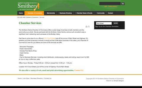 Screenshot of Services Page smitherschamber.com - Chamber Services | Smithers District Chamber of Commerce - captured Nov. 3, 2014