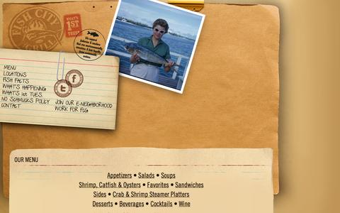 Screenshot of Menu Page fishcitygrill.com - Fish City Grill  – Our Menu - captured Sept. 30, 2014