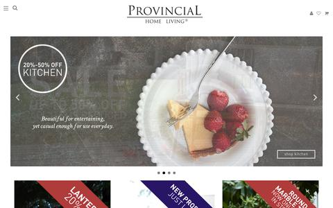 Screenshot of Home Page provincialhomeliving.com.au - Provincial Home Living - Furniture & Homewares for the Bedroom, Bathroom, Living, and Kitchen - captured July 18, 2016