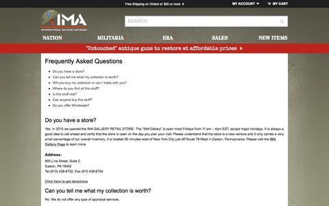 Screenshot of FAQ Page ima-usa.com - Frequently Asked Questions ima-usa.com - captured Oct. 6, 2014