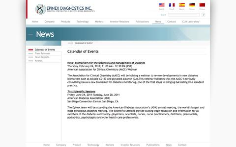 Screenshot of Press Page epinex.com - Epinex Diagnostics Inc. - captured Sept. 16, 2014