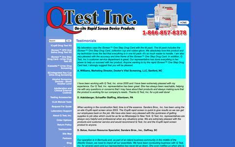 Screenshot of Testimonials Page qtestinc.com - Q Test, Inc.Testimonials - captured Dec. 5, 2015