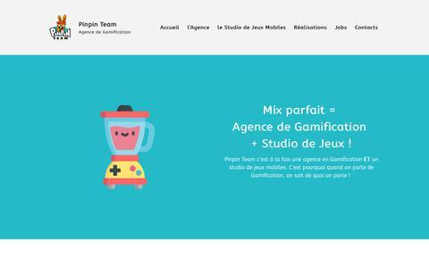 Screenshot of Home Page pinpinteam.com - Pinpin Team - Agence de Gamification - Studio de Jeux Vidéo Mobile - captured July 18, 2018