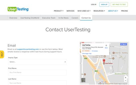 Screenshot of Contact Page usertesting.com - Contact UserTesting - captured Sept. 7, 2017