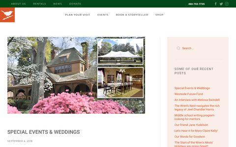 Screenshot of Press Page wrensnest.org - News | The Wren's Nest - captured Oct. 18, 2018