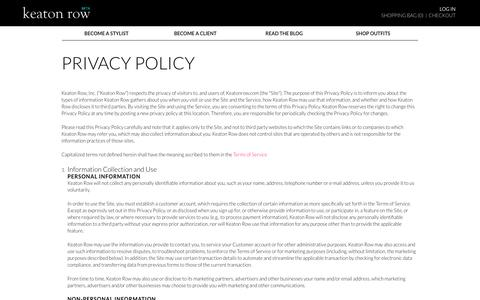 Screenshot of Privacy Page keatonrow.com - Privacy Policy - Signup - Stylist - captured Oct. 29, 2014