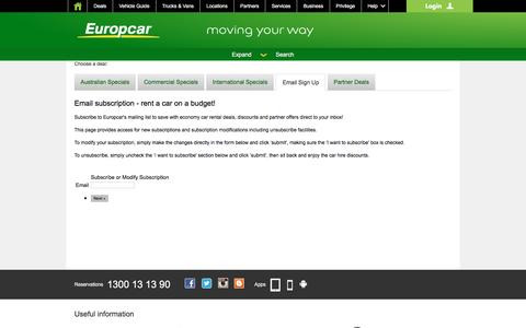 Screenshot of Signup Page europcar.com.au - Email signup - join today to enjoy economy car rental deals from Europcar Australia - captured April 23, 2016